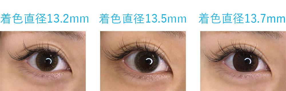 着色直径比較13.2mm13.5mm13.7mm