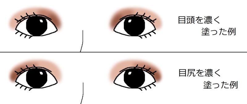 アイシャドウの塗り方の比較画像