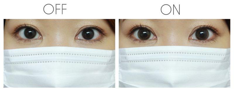 裸眼とレンズ装着の比較画像